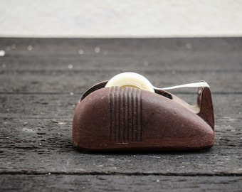 Vintage Art Deco Cast Iron Scotch Tape Dispenser Mid Century Office Supplies