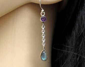Labradorite Earrings, Labradorite Amethyst Silver Earrings, Labradorite Jewelry, Dangle Earrings,  Wiccan Jewelry, Gift for Her