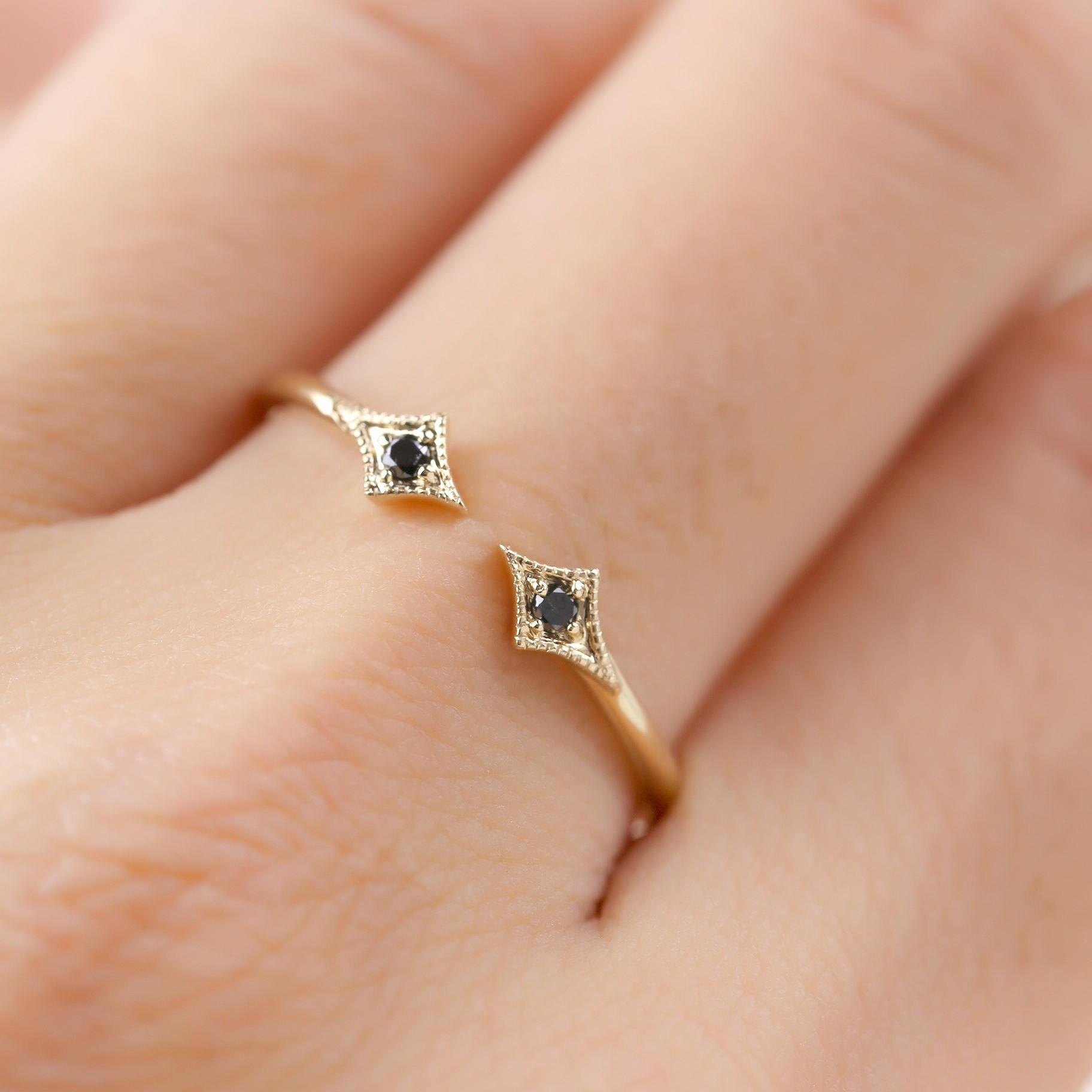 Double diamond star ring diamond open ring 14k gold rose