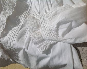 """Hand stitched, Broiderie Anglaise, Pin Tucked, French Vintage, Country Blouse . White Cotton . Size 36""""  ( 91cm) Circa 1900. Loose fitting."""