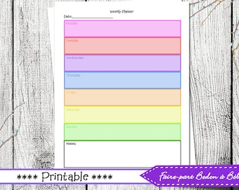 Weekly Agenda Planner PRINTABLE Planner - Weekly Organizer A4 Weekly Planner Inserts Monday Start Weekly Goals Planner - agenda - printable