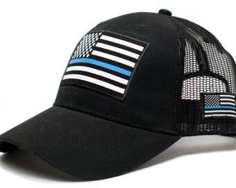 Thin Blue Line USA flag Posse Comitatus Unisex Adult One-Size Cap Hat Black …