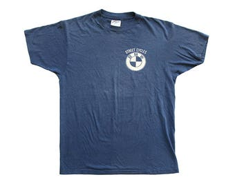 Vintage BMW Street Cycles Logo Blue T-Shirt Medium Large Made in USA 50/50 80s Falmouth Maine Route #1 Motorcycle