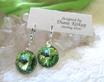 "D.  Kirkup Designs Sterling Silver ""Circle of Light"" Olivine or Peridot Crystal Earrings"