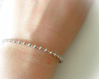 925 sterling silver bracelet and silver beads and pink gold