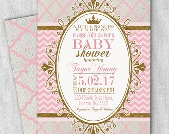 princess pink gold baby shower invitation, FAST customized wording included, royal princess baby shower, pink & gold invitation princess