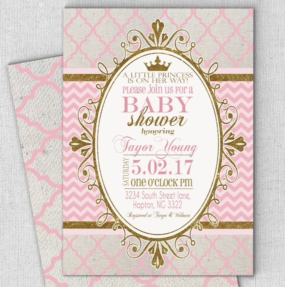 princess pink gold baby shower invitation fast customized, invitation samples