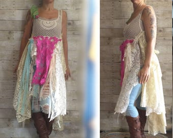 Pink Sunshine Shabby ragdoll layered upcycled lagenlook lace prairie patchwork gypsy floral ruffle rustic Boho fairy tattered dress top