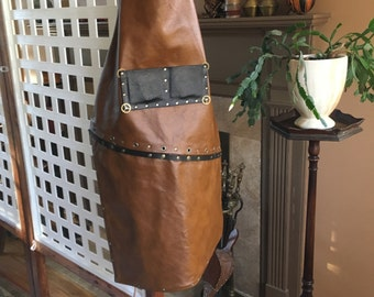 Steampunk Leather Apron Soft Brown with Natural Straps, Gears, Rivets, Grommets - 3rd anniversary