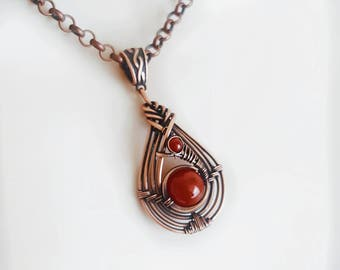 Copper carnelian necklace pendant, wire wrapped stone pendant, orange carnelian jewelry copper wire necklace,woven copper necklace wire wrap