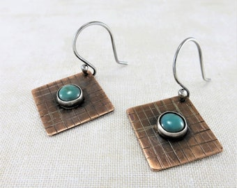 Turquoise Earrings ~ Copper Earrings ~ December Birthstone Earrings ~ Gemstone Earrings ~ Square Geometric Earrings ~ Mixed Metal Earrings