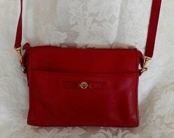Vintage Etienne Aigner purse, Etienne Aigner handbag,vintage shoulder purse,cordorvan Etienne Aigner,red purse,retro red leather purse,
