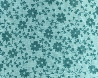 1/2 Yard - Bleeding Heart Chicopee - Turquoise Blue - Denyse Schmidt - Cotton Fabric