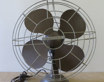Vintage Hunter Oscillating Fan - Industrial Tabletop Fan - Rare