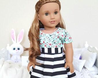 18 inch doll skater skirt | floral crop top