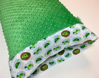 Turtles  Green Pillowcase made with Green Minky Dot trimmed with turtle band
