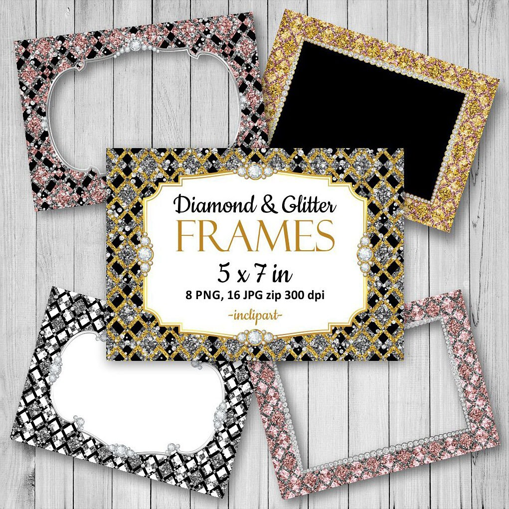 Frame clipart. Glitter diamond digital frames. Set of 24