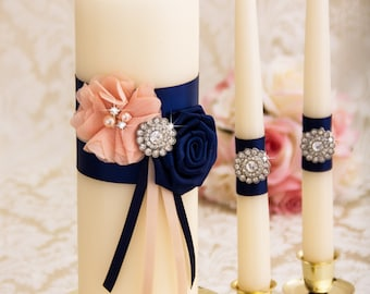 Blush and Navy Blue Unity Candles Set, Blush Wedding Candles, Wedding Unity Candle Set, Wedding Candle Set, Navy Blue Wedding Candles