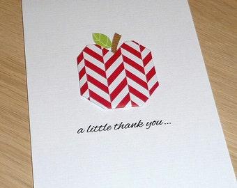 Teacher Thank you card - Origami Apple - red  - handmade greeting card