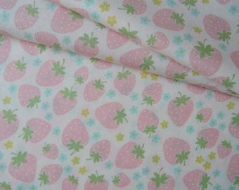 "Fat Quarter of Yuwa Atsuko Matsuyama Strawberries and Floral Fabric on Off White Background. Approx 18"" x 22"" Made in Japan"