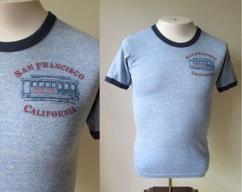 1978 San Francisco ringer t-shirt/ Cable Car Powell and Hyde streets Ringer T-Shirt by Hanes size small 34-36