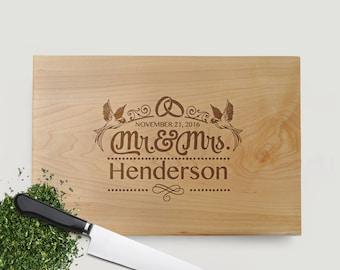 Engraved Wedding Rings with Birds Wedding Gift - Wood Cutting Board Walnut or Maple