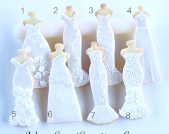 Half Dz. Wedding Gown Cookies! Bridal showers, gifts, favors and more!