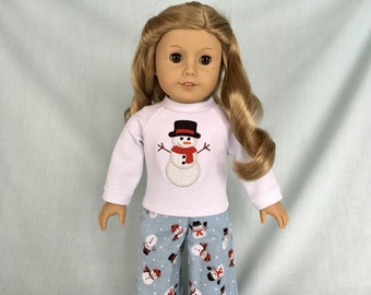 Snowman Pajamas and Optional Slippers for American Girl/18 Inch Doll