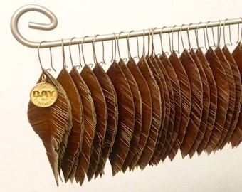 Brass Hook Leather Feather Earrings