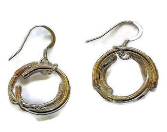 hoop earrings, sterling silver earring hoops, dangle earrings, silver boho earrings for women, unique silver jewelry, handmade jewelry