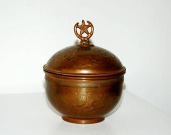 Vintage Cooper Sugar Bowl / Vintage Metal Sugar Bowl / Star and Moon Sugar Bowl / 1950's Vintage Antique Engraved Copper Turkish Sugar Bowl