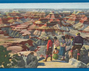 Linen Postcard -  A Group of Hopi Native Americans Standing on the Rim of The Grand Canyon in Arizona  (2512)