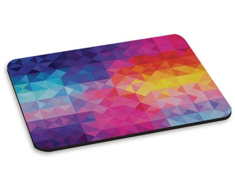Rainbow Triangles Aztec Pattern PC Computer Mouse Mat Pad
