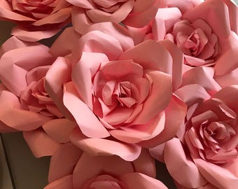 Giant pink paper roses - set of 10  (8 inch flowers)