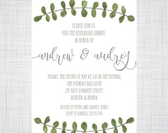 Rehearsal Dinner Invitation. Outdoor Wedding Invitation. Wedding Invitation. Eucalyptus Vine. Eucalyptus Watercolor.