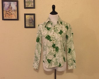 70s Vintage  Paisley Green Button Up