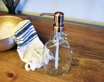 Vintage Style Glass Jug Soap Dispenser, Moonshine Jug, Liquor Bottle, Dish Soap, Man Cave Bathroom, Home Bar, Rustic Kitchen Decor, Farmhous