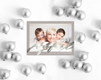 Silver Christmas Cards in White and Grey with Silver Calligraphy
