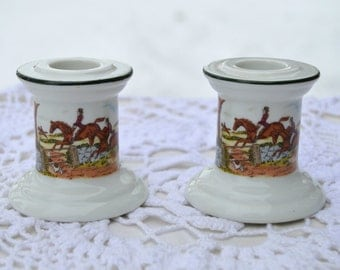 Vintage Porcelain Candlestick Holders English Steeplechase Horse or Fox Hunting Scene