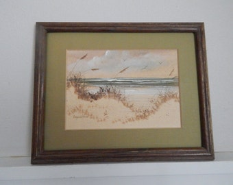 Original Sea Scape Watercolor Painting of a Sand Beach, Sand Dunes and Waves - Painting Signed by Ginger Wilson - Mid Century Modern Artwork