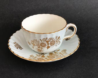 Vintage MINTONS Swirl & Scalloped TEA Cup and Saucer, English Bone China, Gold Flowers and Foliage, England, pre 1950, H4863, Flat Cup