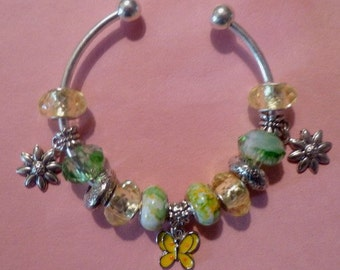 20- Open European Style Charm Bracelet ~ Yellow and Green Butterfly