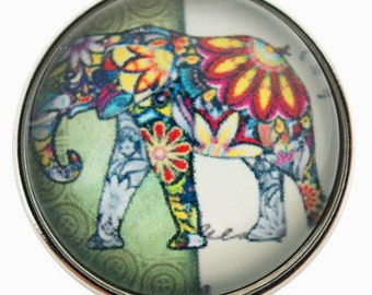 C0064  Elephant Art Glass Print Chunk