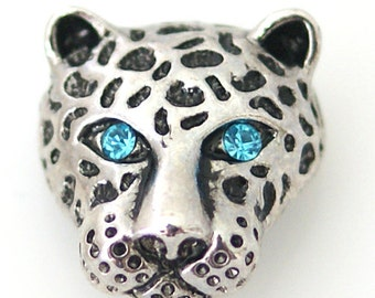KB8823  Antiqued Silver Panther With Blue Crystal Eyes