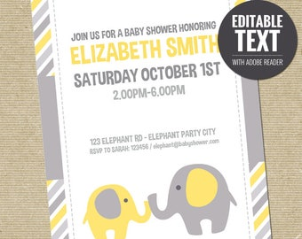 Editable Elephant Baby Shower Invitation Template. Yellow Elephant Invite. Yellow and Grey Baby Shower Invitation.Printable Digital Download