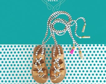 Child Gladiator Greek Summer Leather Sandals - Children Fabric Wrap Up Laces and Leather colored tassels