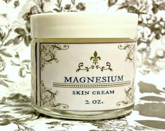 Magnesium Skin Cream / Lotion, dry skin, for hands body and face/ pick your scent