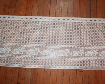 "Vintage Lace Curtain With Houses 50"" x 20"""