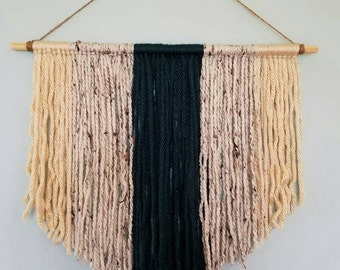 Blue & Tan yarn woven wall hanging