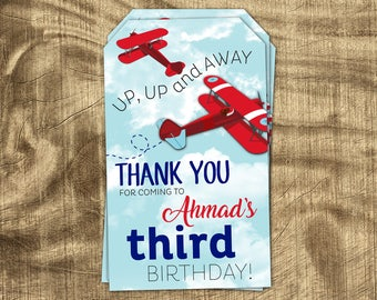Airplane Thank You Tag, Boys Birthday Favor Tag, Party Supplies, Matching, Party Favor Thank You, Hang Tag, Party Kit, Gift Tag, Thank You
